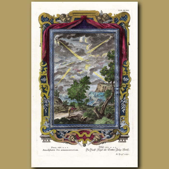 Antique print. Four Winds of Heaven