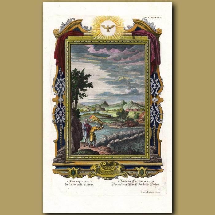 Parting The River Jordan. (Iordanes Pallio Divisus): Genuine antique print for sale.
