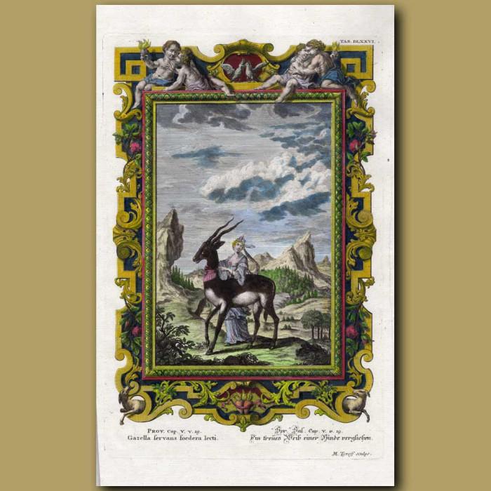 Antique print. Gazelle, Woman And Cherubs