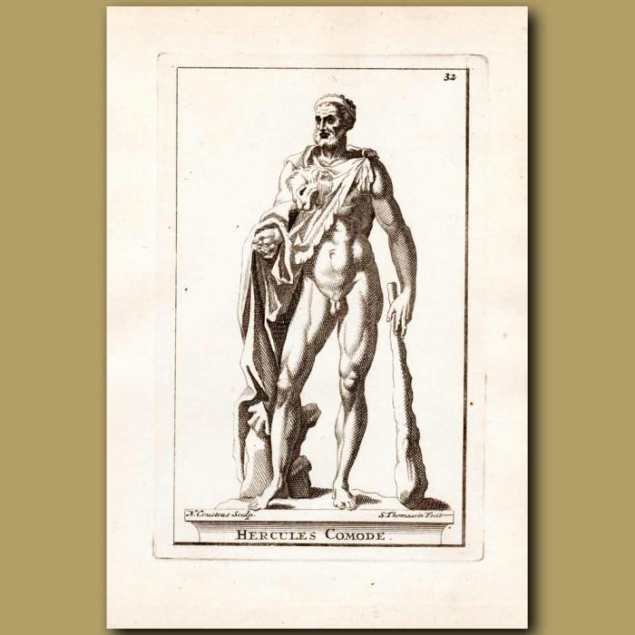 Antique print. Hercules holding a club