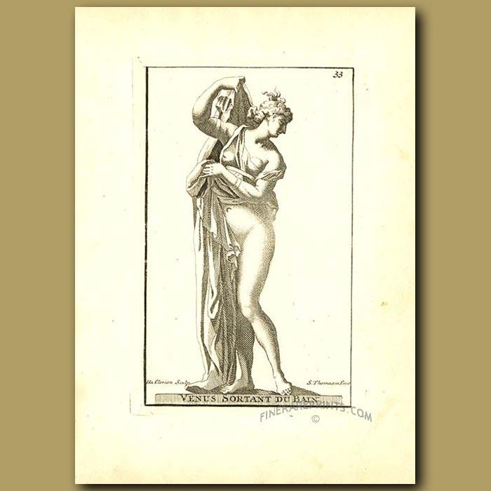 Antique print. Venus emerging from her bath