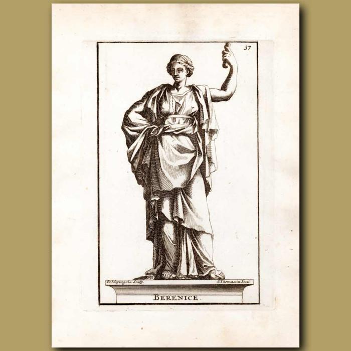Antique print. Queen Berenice of Egypt