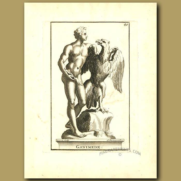 Antique print. Ganymede a Greek Divine Hero