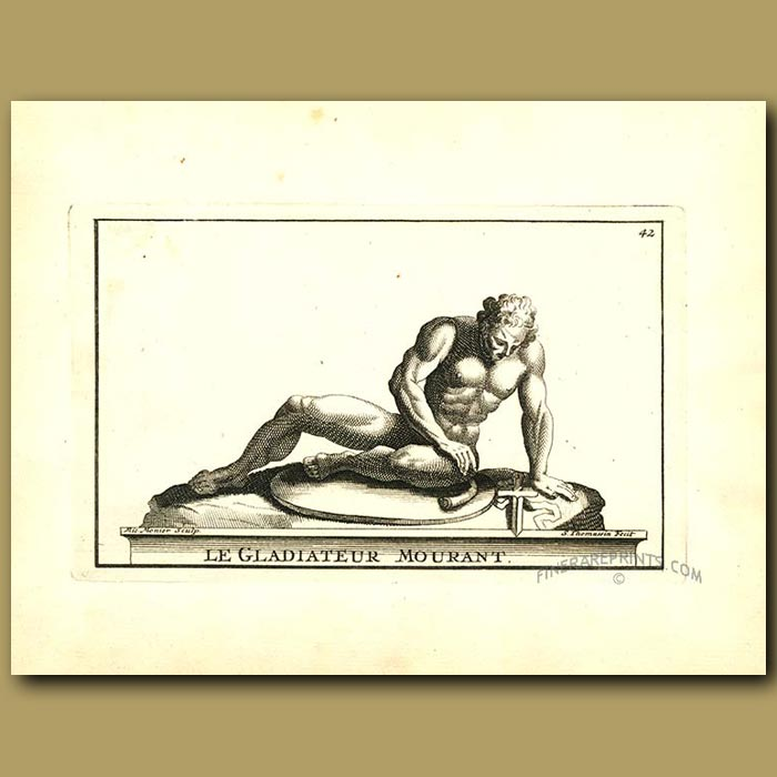 Antique print. A fallen Gladiator