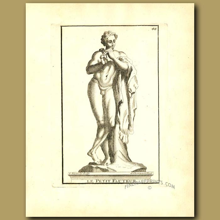 Antique print. Demi-god playing the flute
