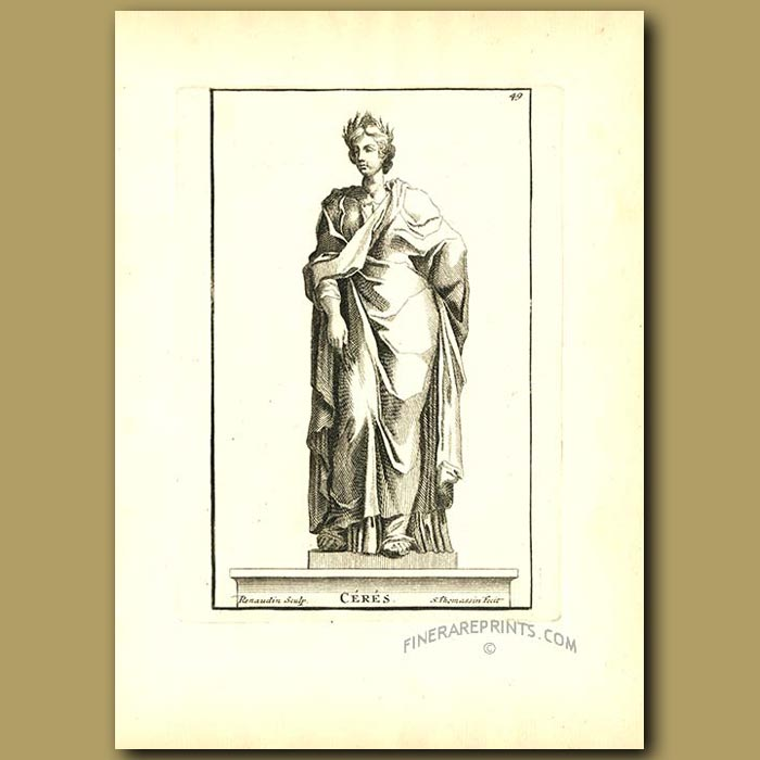 Antique print. Ceres - Goddess