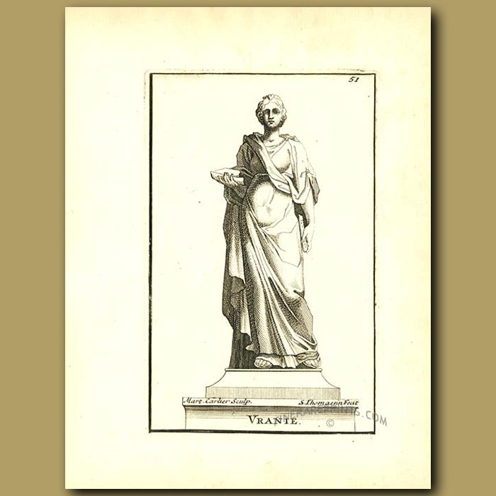 Antique print. Urania, muse of Astrology and Astronomy
