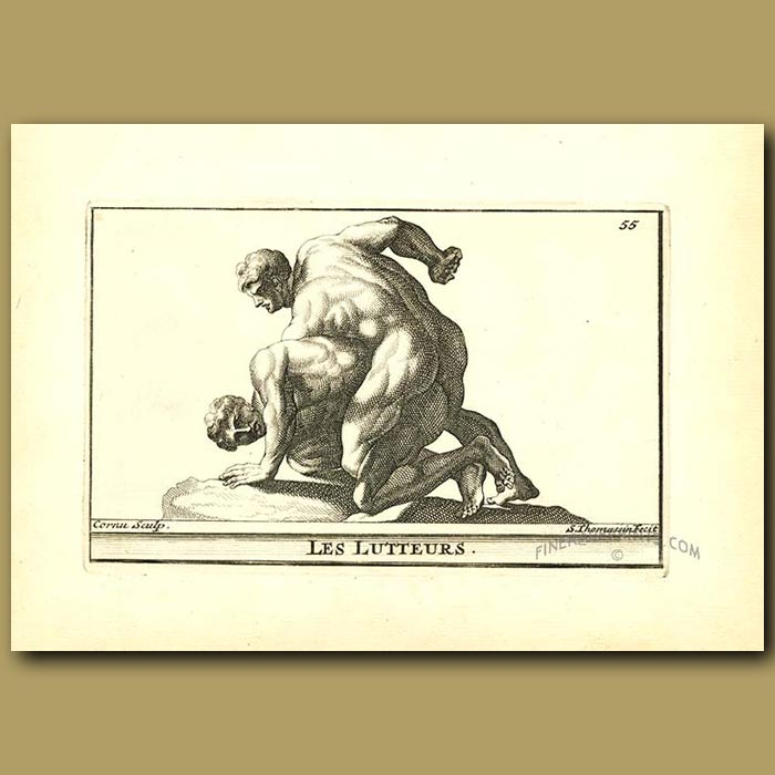 Antique print. The Wrestlers