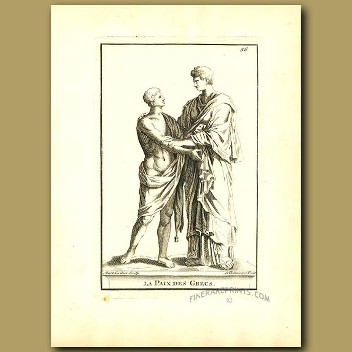Antique print. Peace with the Greeks