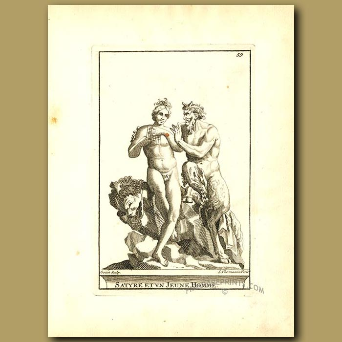 Antique print. Satyr and young man