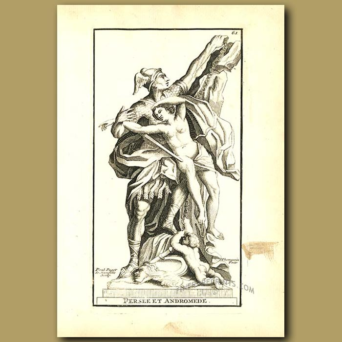 Antique print. Perseus and Andromeda