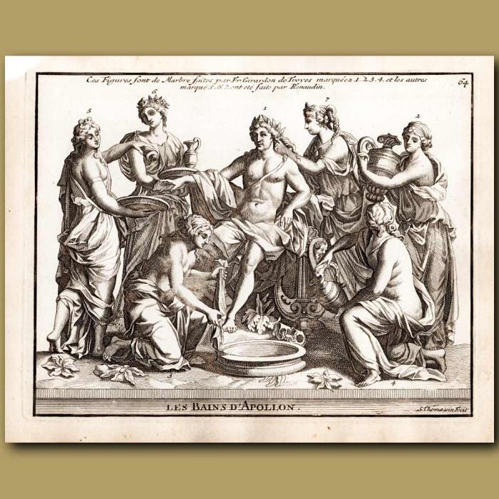Antique print. Baths of Apollo