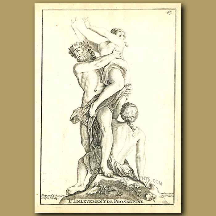 Antique print. The abduction of Proserpine