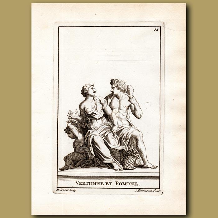 Antique print. Vertumnus and Pomona
