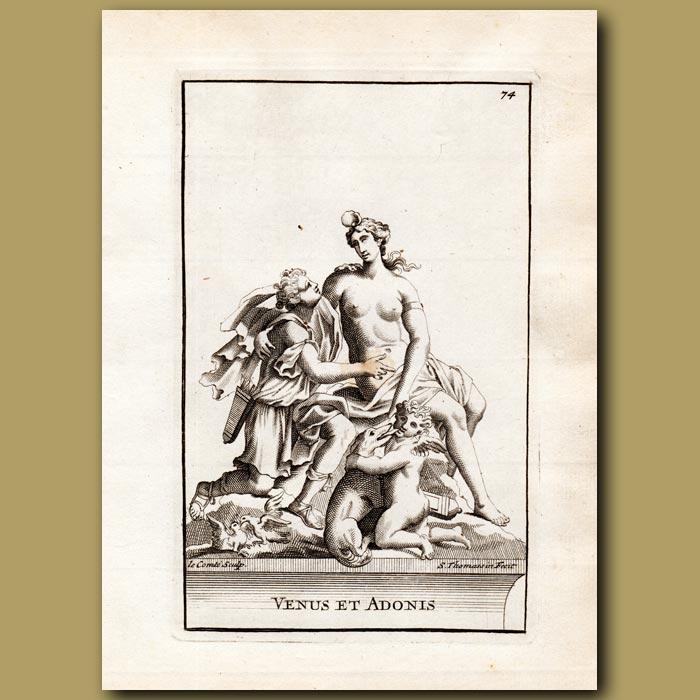 Antique print. Venus and Adonis