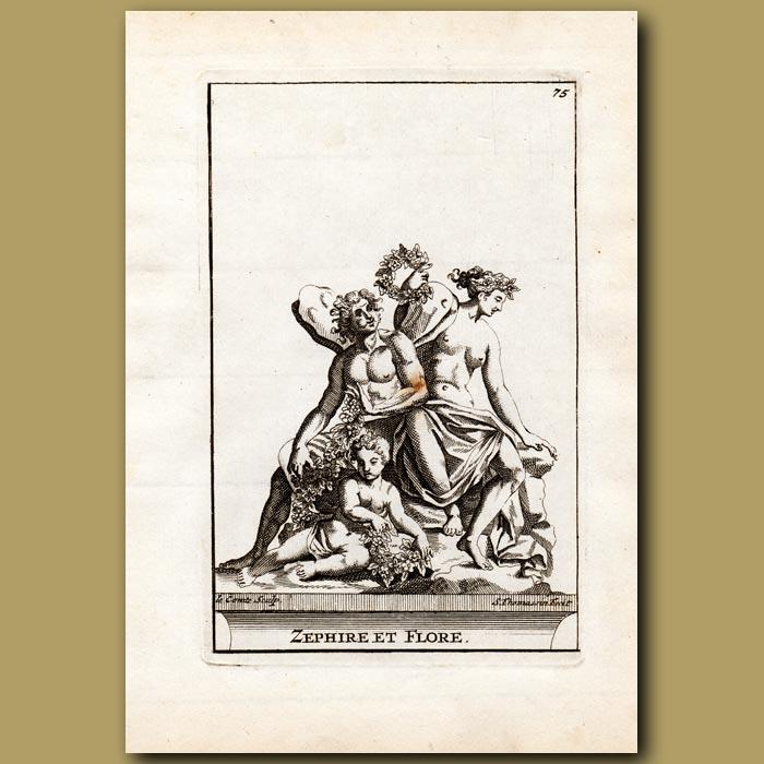 Antique print. Zephyr and Flora