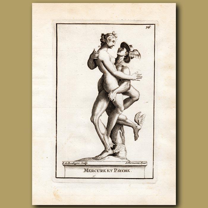 Antique print. Mercury abducting Psyche