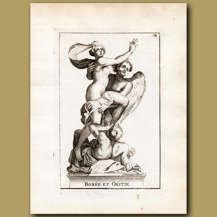 Antique print. Abduction of Orethyia by Boreas