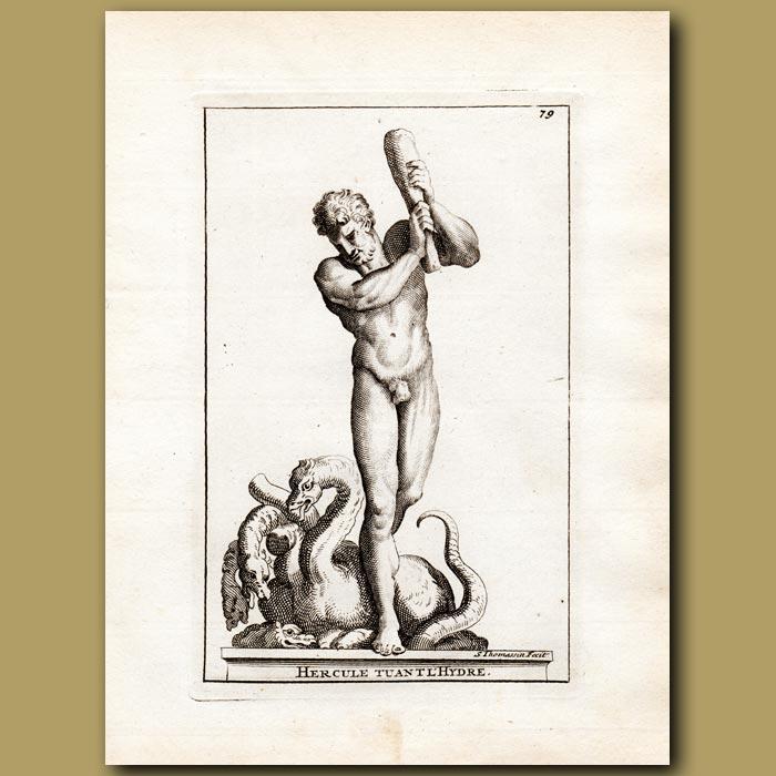 Antique print. Hercules killing the Hydra