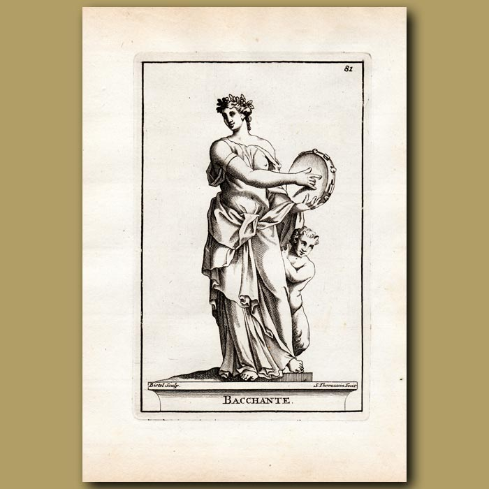 Antique print. Priestess of Bacchus