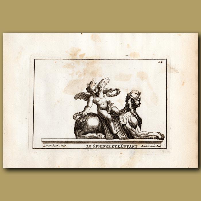 Antique print. Sphinx and Cupid