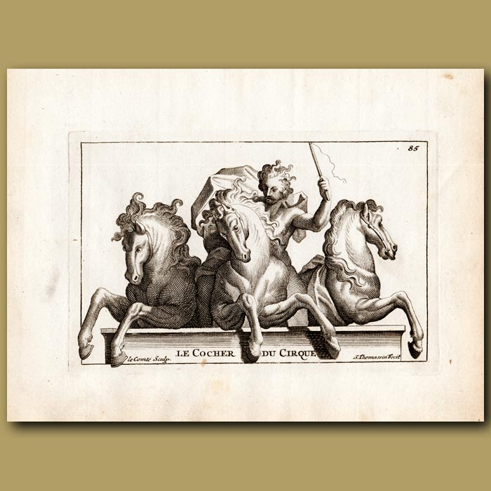 Antique print. Circus Coachman