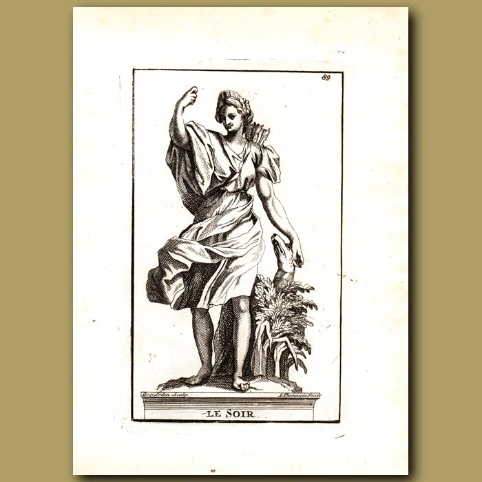 Antique print. Hesperus, God of Evening