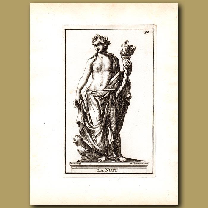 Antique print. Nox, Goddess of Night