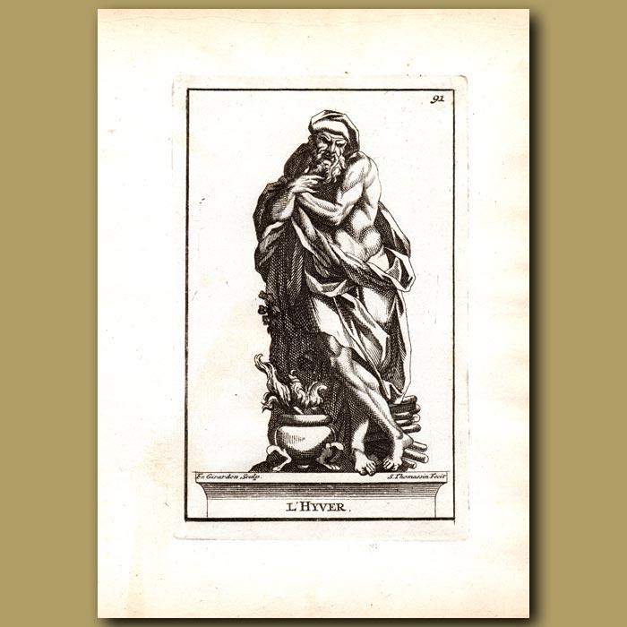 Antique print. Aquilo, God of Winter
