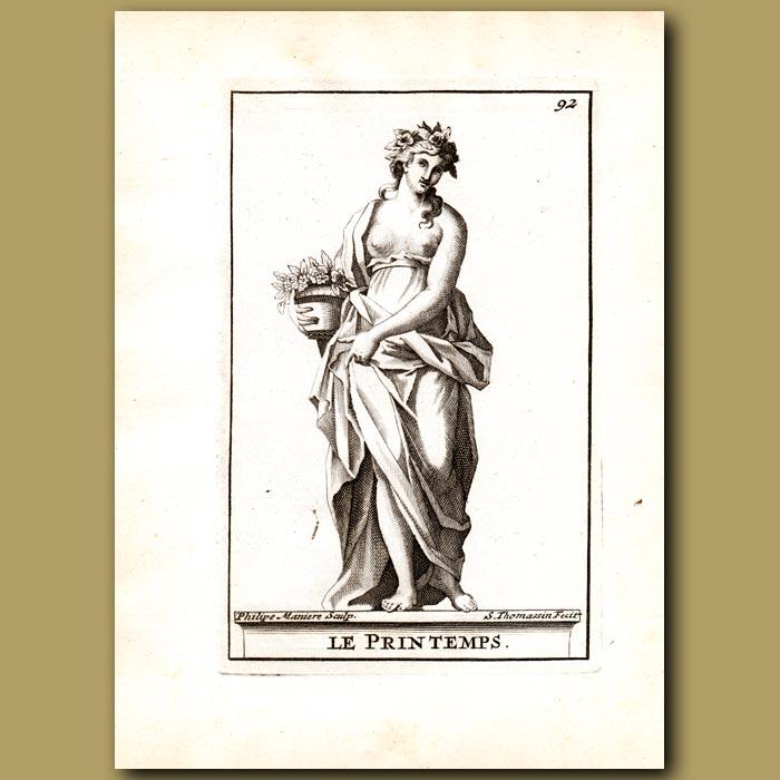Antique print. Thallo, Goddess of Spring