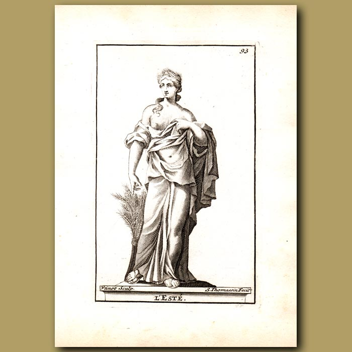 Antique print. Theros, Goddess of Summer