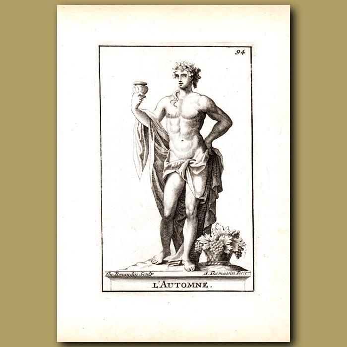 Antique print. Carpho, Goddess of Autumn