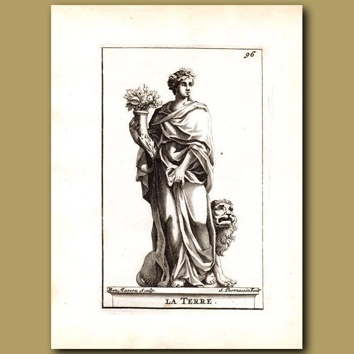 Antique print. Gaia, Goddess of The Earth