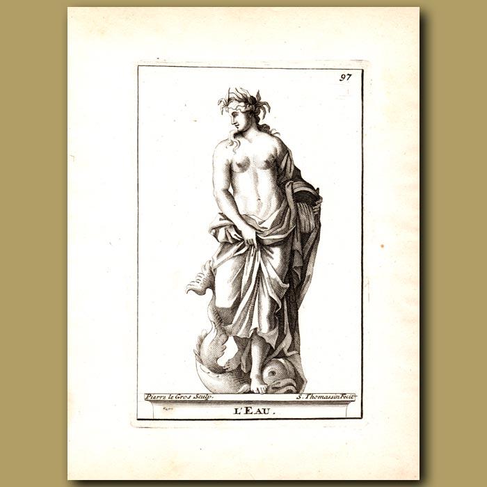 Antique print. Poseidon, God of Water