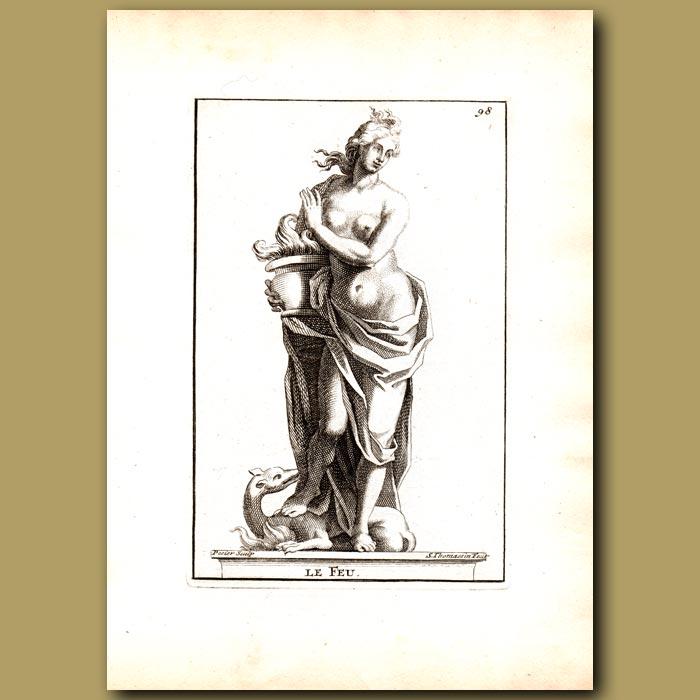 Antique print. Vesta, Goddess of Fire