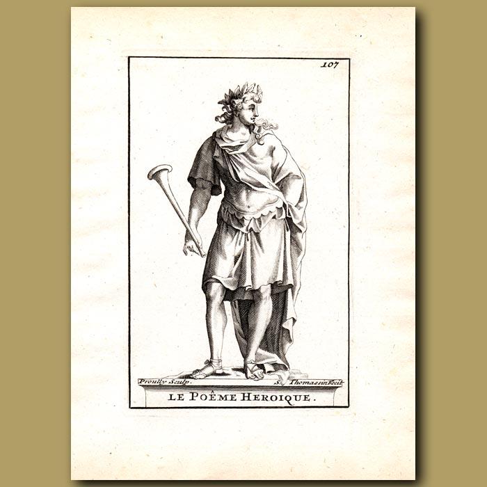 Antique print. Heroical Poet