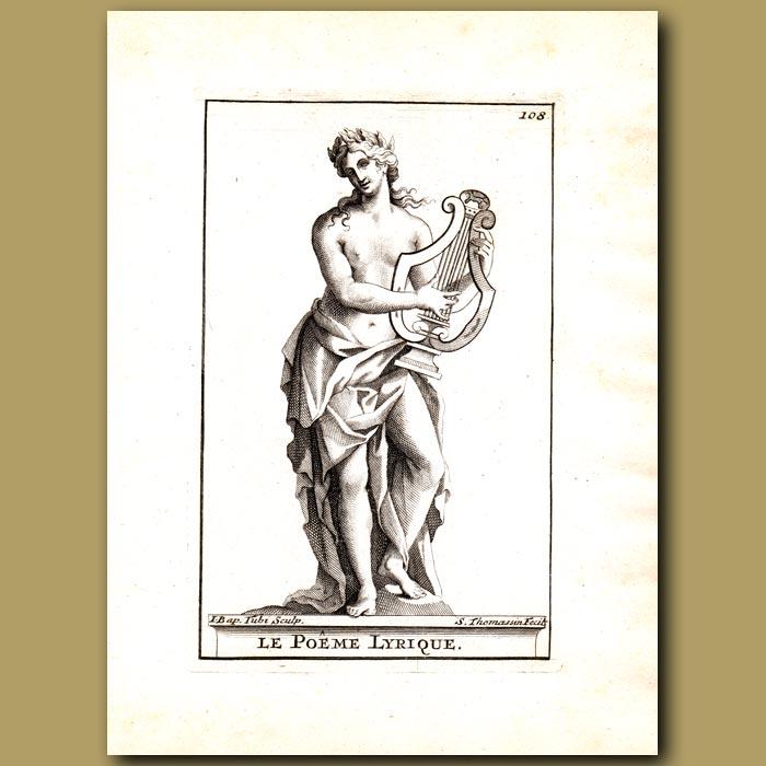 Antique print. Lyrical Poet