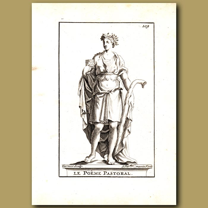 Antique print. Pastoral Poet