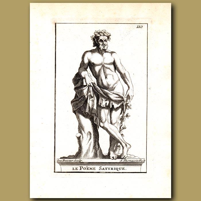 Antique print. Satyrical Poet