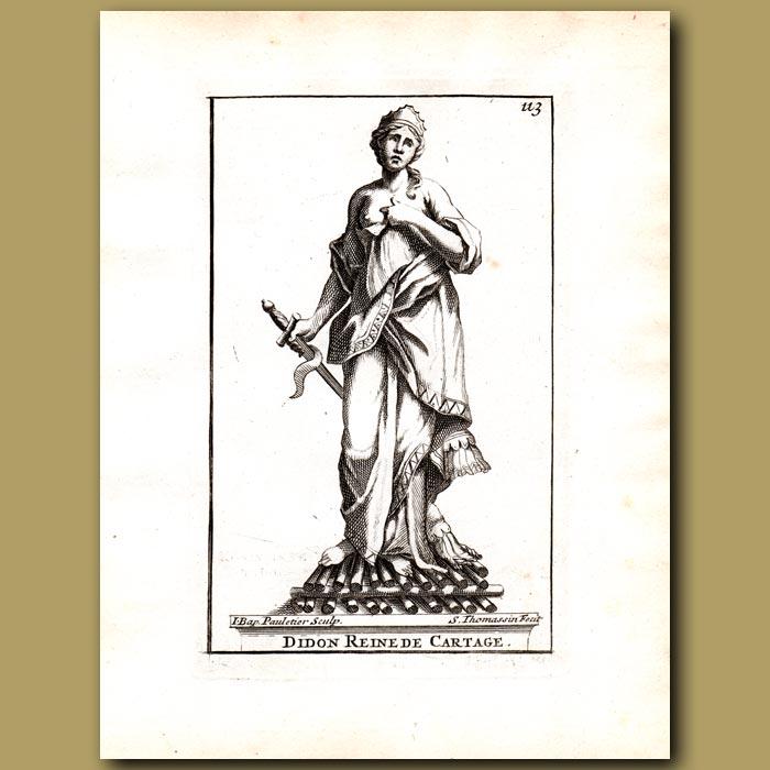 Antique print. Dido, Queen of Carthage