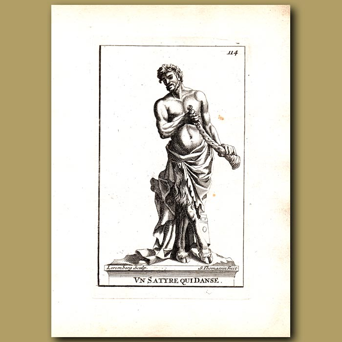 Antique print. Dancing Satyr