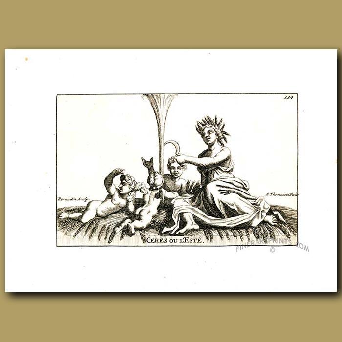 Antique print. Goddess Ceres fountain