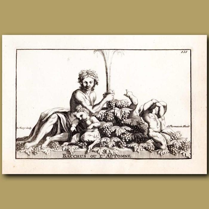 Antique print. Fountain of Bacchus