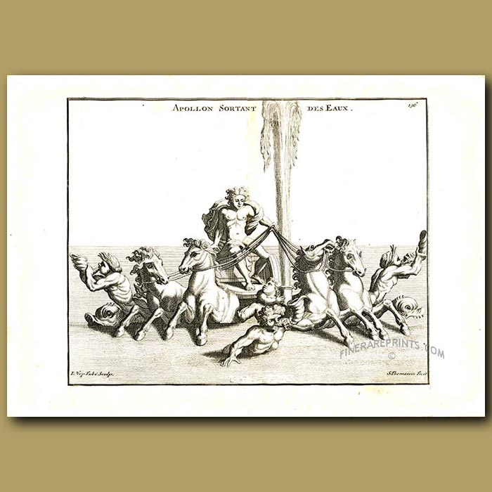 Antique print. Apollo riding his chariot drawn by horses over the sea