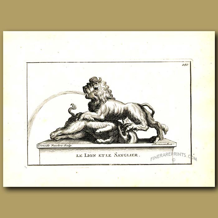 Antique print. Lion and boar fountain