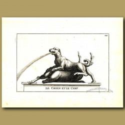 Hunting dog and stag fountain