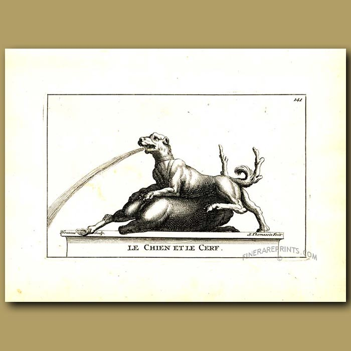 Antique print. Hunting dog and stag fountain