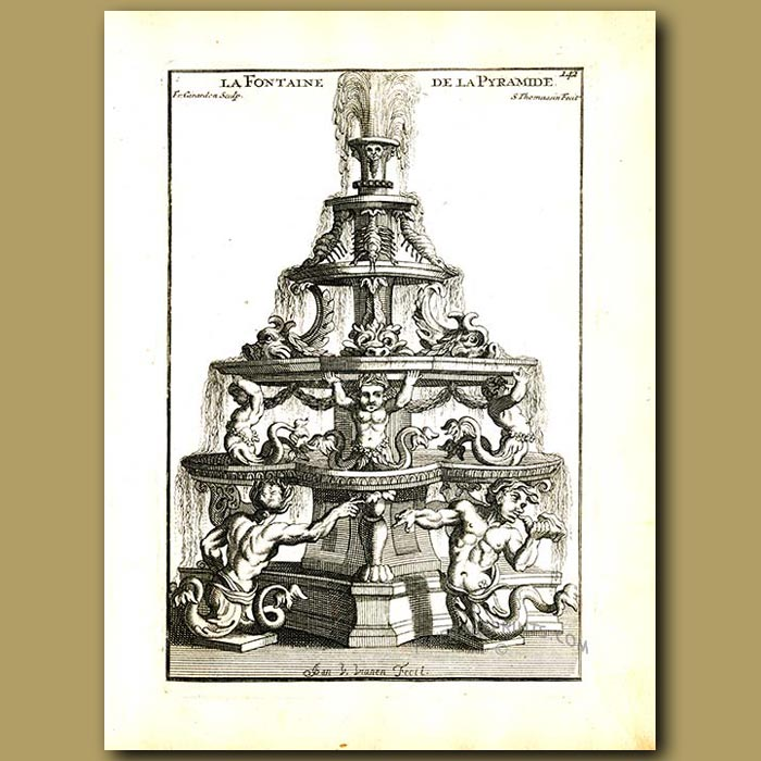 Antique print. The pyramid fountain, supported by tritons, dolphins and crayfish