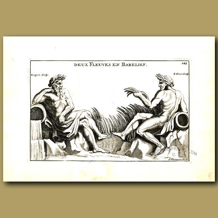 Antique print. Two gods of the river