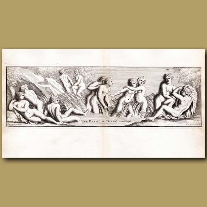 Antique print. Goddess Diane in her bath